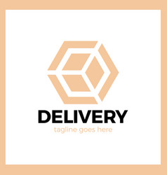 delivery box arrow logotype colorful gradient vector image