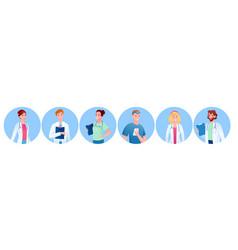 doctor people round avatar cartoon set medic vector image
