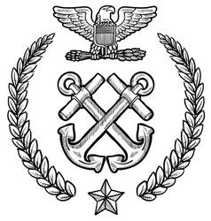 Doodle us military wreath navy vector