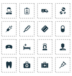 drug icons set with clinic aid medic and other vector image