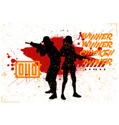 Duo woman and man in pubg vector