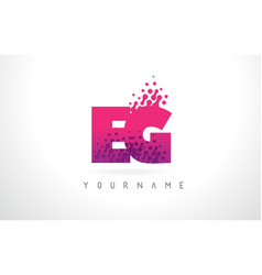 Eg e g letter logo with pink purple color and vector