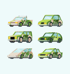 electric cars future set stylish green design vector image
