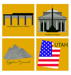 Famous place and monument around the world vector