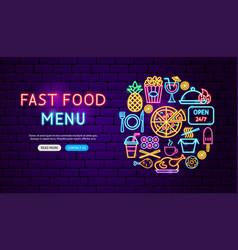 fast food menu neon banner design vector image