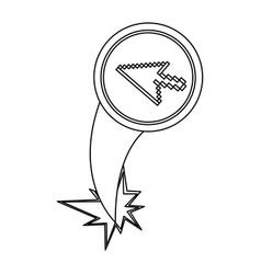 Figure arrow cursor with hole icon vector