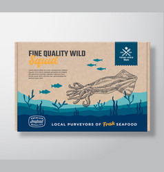 Fine quality seafood cardboard box abstract vector