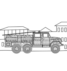 Fire truck coloring book for adults vector