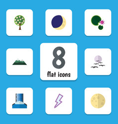 Flat icon ecology set of peak lightning tree and vector