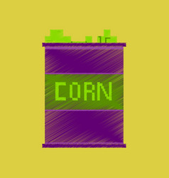 Flat shading style icon pixel corn in glass vector