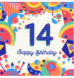 fourteen 14 year birthday greeting card number vector image