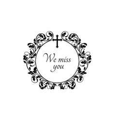 Funeral flowers memory frame sympathy or mourning vector
