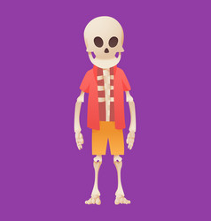 Funny cartoon skeleton posing while standing in vector