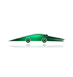 Funny toy crocodile with wheels for your design vector image