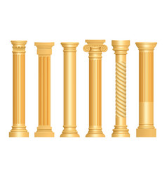 golden antique column classic roman pillars vector image