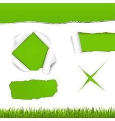Green Torn Paper Set vector image