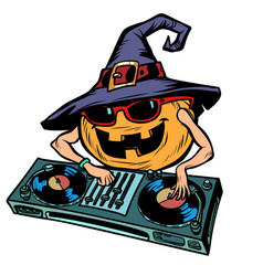 halloween pumpkin dj character isolate on white vector image