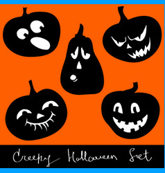 Halloween pumpkins set vector