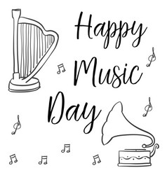Hand draw music day greeting card collection vector