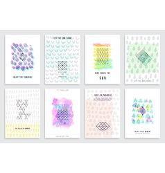 hand drawn watercolor set cards vector image