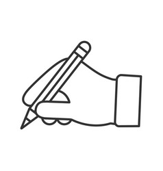 hand holding pencil linear icon vector image