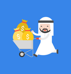 Happy cute arab business man push cart which full vector