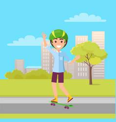 Happy skateboarder showing ok sign skateboarding vector