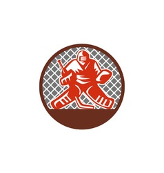 Ice Hockey Goalie Circle Retro vector image