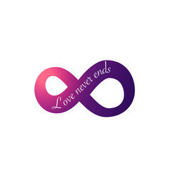 Infinity love symbol love never ends text vector