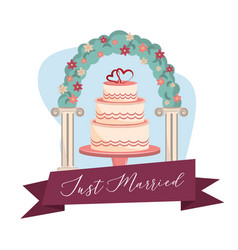 just married cartoon vector image