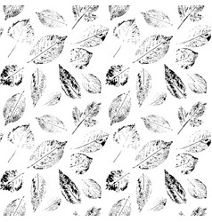 leaves seamless black and white background vector image