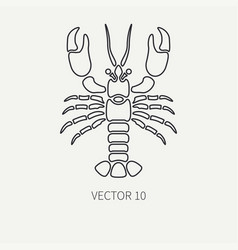 Line flat plain ocean fauna icon - lobster vector