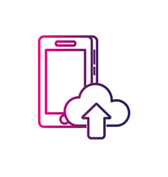 line smartphone technology with cloud data icon vector image