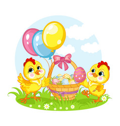 Little cute funny characters two chickens and vector
