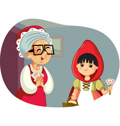 Little red riding hood visiting her grandmother vector