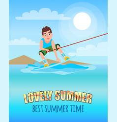 Love summer best summertime kitesurfing sport vector