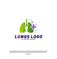 Lungs with plus logo design concepthealth lungs vector