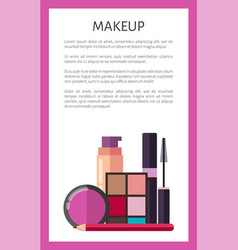 Makeup elements on promotional vertical poster vector