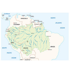 Map of the amazon river drainage basin vector