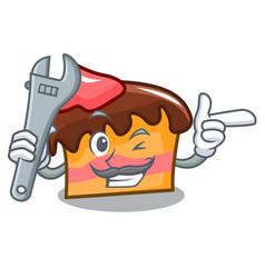 Mechanic sponge cake mascot cartoon vector