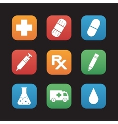 Medical center flat design icons set vector image