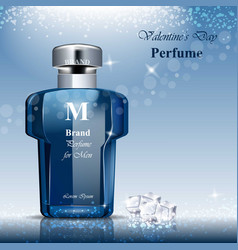 Men perfume bottle fragrance realistic vector