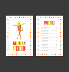 mexican food menu template restaurant cafe vector image