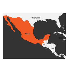 Mexico orange marked in political map central vector