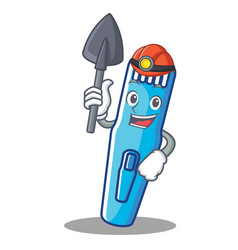 miner trimmer mascot cartoon style vector image