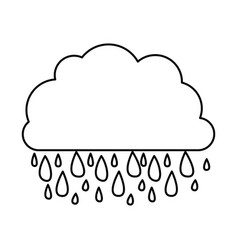 Monochrome contour of cloud with rain vector