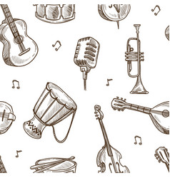 musical instruments and retro microphone sketches vector image