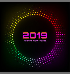 New year 2019 glow brught card background vector