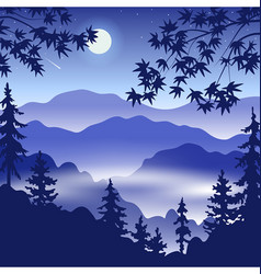 Night landscape with mountains full moon and trees vector
