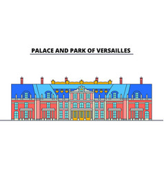 Palace and park of versailles line travel landmar vector